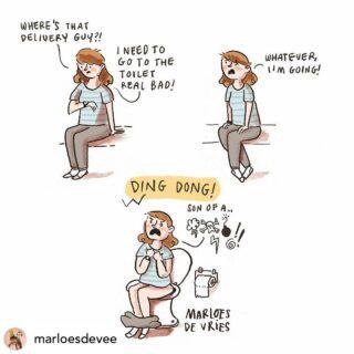 😂 perfect timing?  Oh ja, dat heb ik de laatste maanden al eens gehad 😂 Gelukkig geen levering op zondag 🙏 dus kan ik ongestoord genieten van een toiletmoment.  Credits to @marloesdevee   #regram #cartoonart #flow